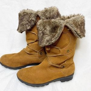 Suede Leather Tan Faux Fur Lined Lace-up Boots